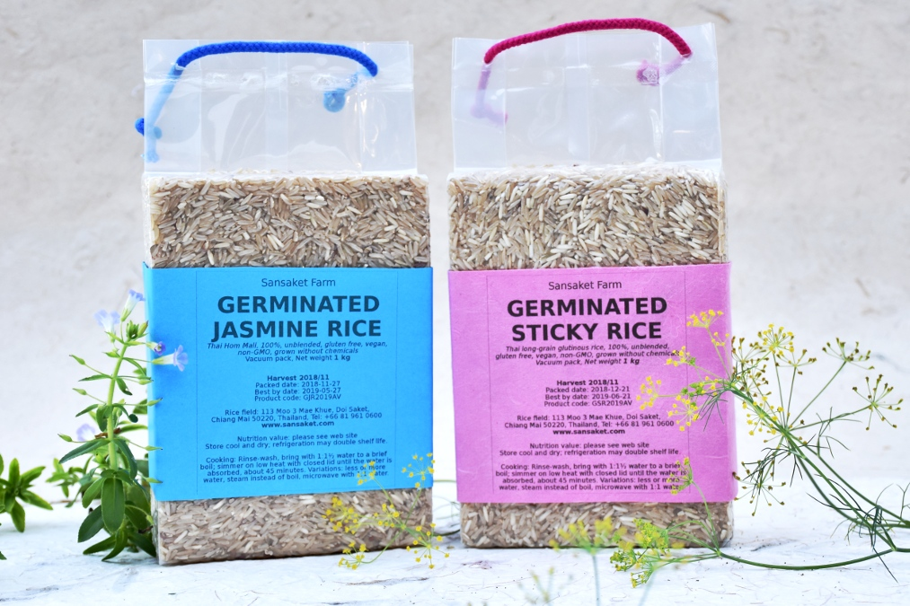 Germinated Thai Jasmine Brown Rice and Germinated Sticky Brown Rice in a vacuum pack of 1 kilogram